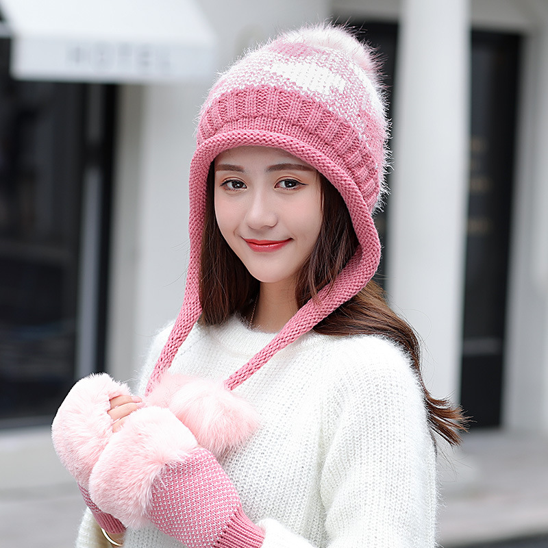 Fashion Winter Hat Glove Set For Women Pom Pom Ball Beanies Set Of Hat And Scarf For Women Thicken Warm Soft Winter Accessories