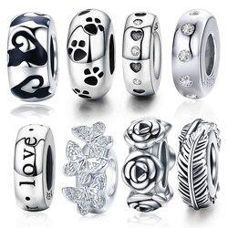 Wostu rolha espaçador contas 100% 925 prata esterlina gato pena redonda charme caber pulseira original diy jóias acessórios