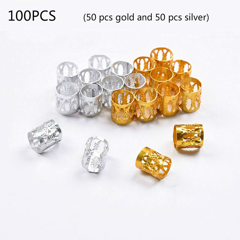 100Pcs/Lot Gold And Silver 8x9mm Micro Hair Dread Braids Lock Tube Beads Adjustable Cuffs Clips For Hair Accessories Tool