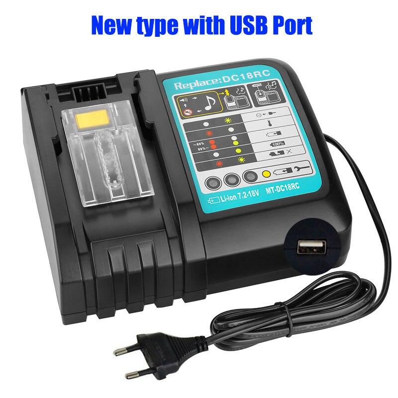 NEW DC18RCT Li-ion Battery Charger 3A Charging Current for Makita 14.4V 18V BL1830 Bl1430 DC18RC DC18RA Power tool + USB port
