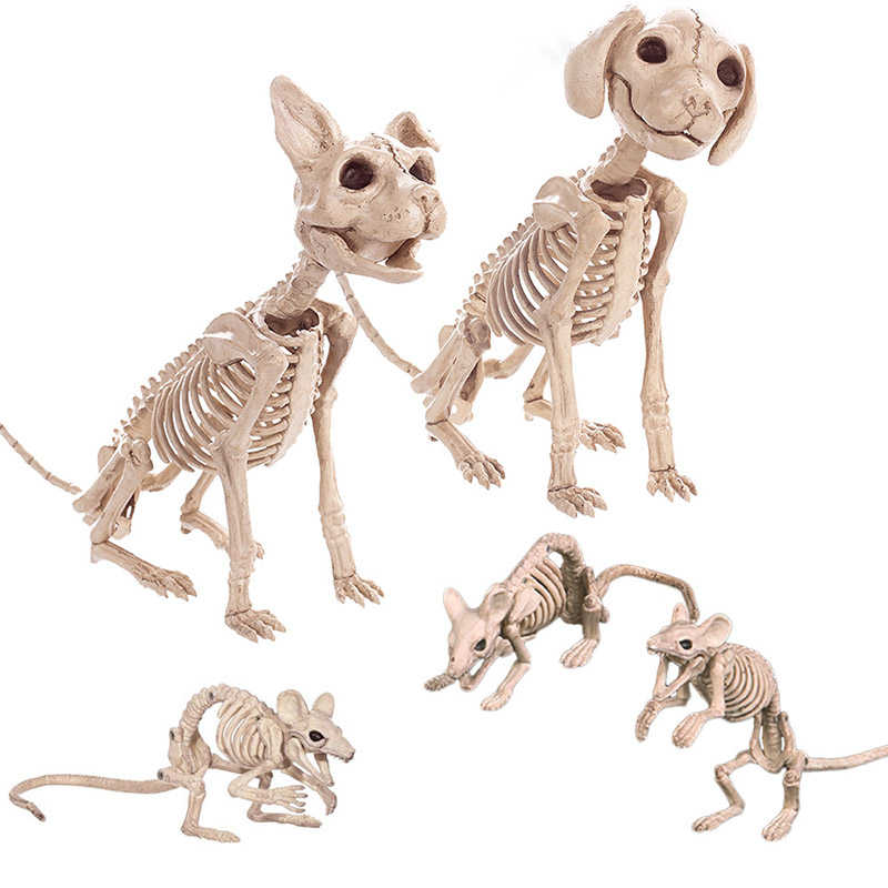 Home Decor Props Animals Skeleton Skull Bone Creepy Bat Mouse Dog Cat Ornaments Scary Toy Party Supplies Decoration