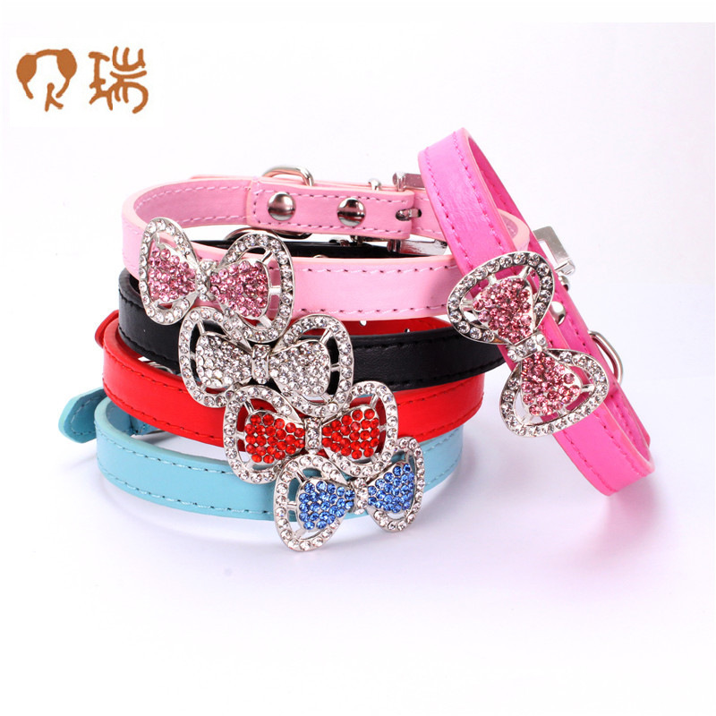 Berry Hot Selling Colorful Crystals Bow Dog Neck Ring Man-made Diamond Bowtie Cat Neck Ring Small Dogs Bite-proof Protector Pet