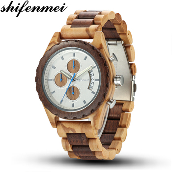 Shifenmei Wooden Watches Men 2019 Military Wooden Multi-Function Date Display Quartz Watches Top Luxury Brand relogio masculino