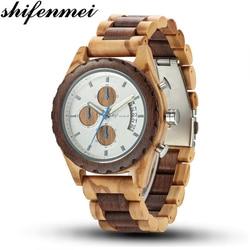 Shifenmei Wooden Watches Men 2019 Military Wooden Multi-Function Date Display Quartz Watches Top Luxury Brand relogio masculino