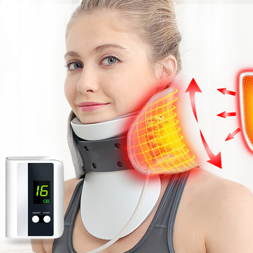 Electric Heating Neck Cervical Traction Device Adjustable Inflatable  Spine Massager Household Correction Traction Apparatus Kit