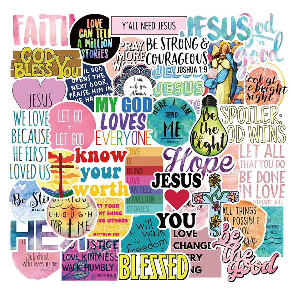 50PCS Jesus Christians Religion Sayings Stickers Kateboard Guitar Suitcase Freezer Graffiti Luggage Motorcycle DIY Cool Stickers