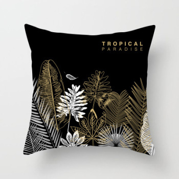 Gold Black Tropical Cushion Cover