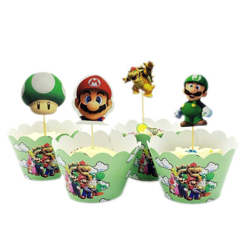 24Pcs Super Mario Mushroom Game Cupcake Wrappers Cake Toppers Picks Kids boy Birthday Party Dessert table Decoration Supplies