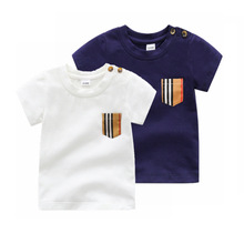 T-Shirt Baby Tops Toddler Cotton Boy Fashion Short Round-Neck Girl Stripes 0-24-Months