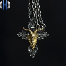 Original Design Handmade Silver Dark Angel Satan Horn Pendant Cross Necklace