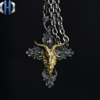 Original Design Handmade Silver Dark Angel Satan Horn Pendant Cross Necklace Pendant