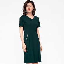 Green dresses for summer plus size 6xl 5xl 4xl xxxl v-neck short zipper elegant clothes classic Women's office midi casual dress(China)
