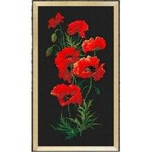 Красные цветы мака, вышивка крестом, посылка, наборы растений aida 18ct 14ct 11ct, черная ткань, Набор для вышивания, рукоделие своими руками