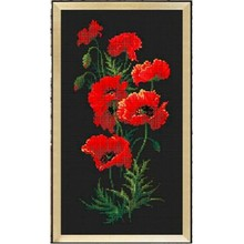 Red poppy flowers cross stitch package plant sets aida 18ct 14ct 11ct black cloth people kit embroidery DIY handmade needlework(China)