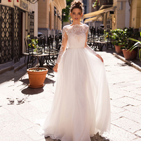 Romantic Bohemian Beach Wedding Dresses 2019 Lace Up Back Lace Long Sleeve Wedding Gowns Boho Bride Dress With Belt