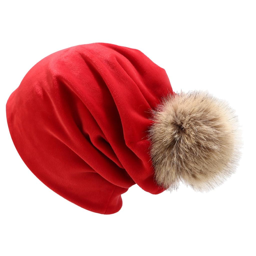 2019 Fashion Winter Hats For Woman Warm Fur Pompom Hat Down Headgear Solid Color Pile Cap Casual Earmuffs Bonnet Beanie