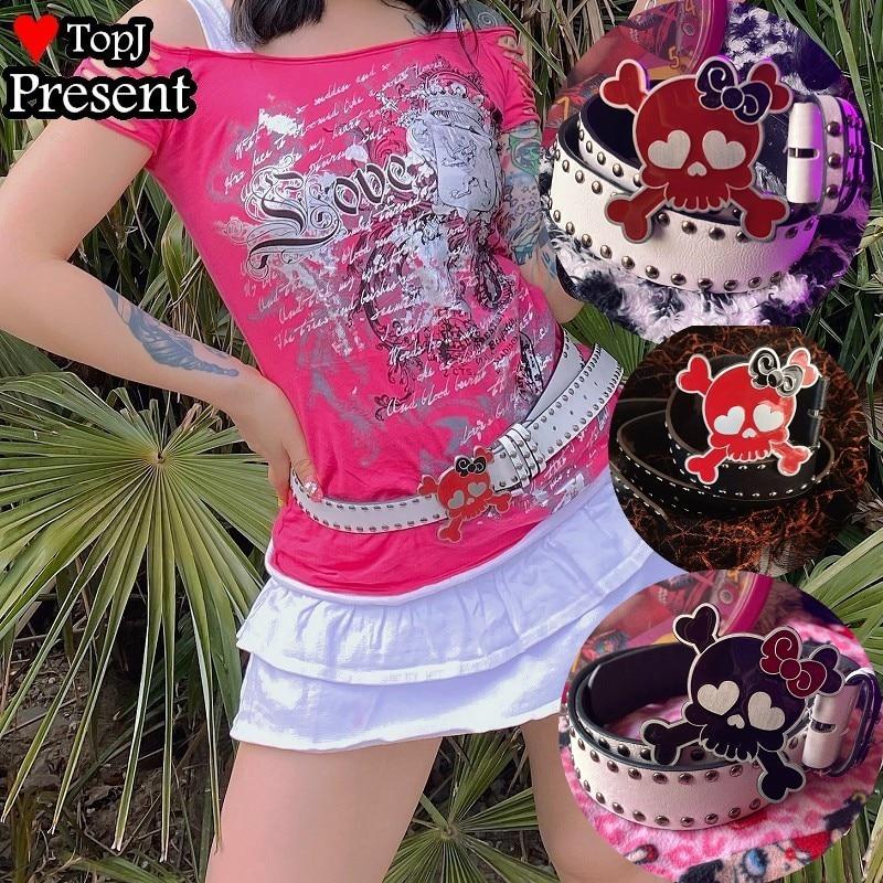 Women Sweet Lolita Cosplay Candy Color Y2K Tuku spice girls Gothic Lolita Punk Studded Harajuku belt bungee equipment