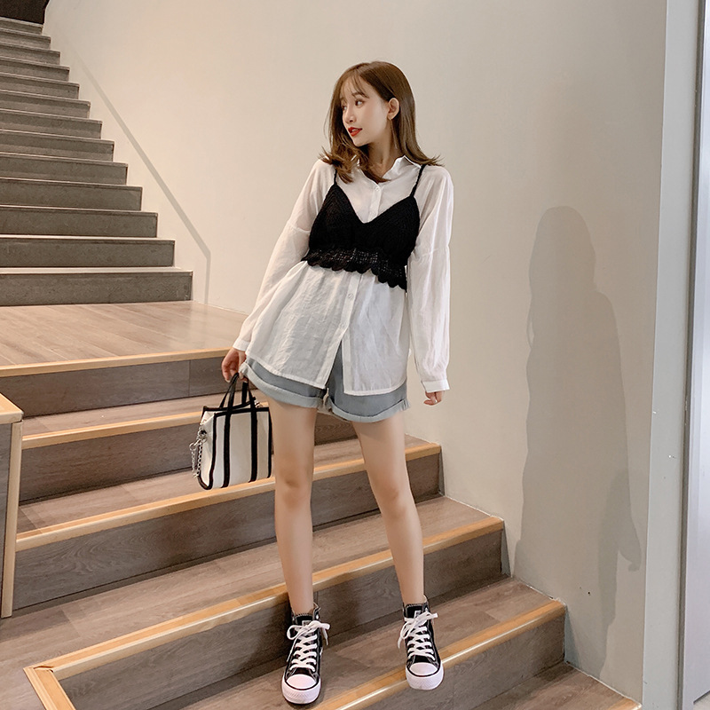 Autumn Clothing Women's 2019 New Style Korean-style Versitile Fashion Thin Shirt Tops + Knitted Vest Two-Piece Set F7484