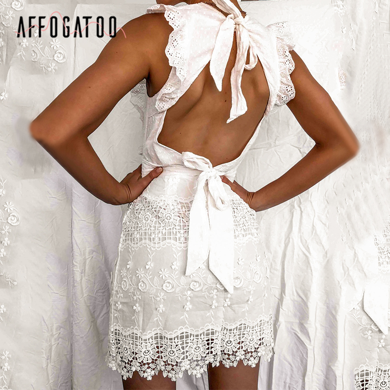 Affogatoo Sexy Backless Sleeveless Lace White Dress Women Elegant Ruffled Bodycon Summer Dress Ladies Casual Mini Party Dresses