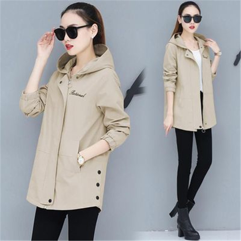 New 2020 Spring Autumn Trench Coat Women's Hooded Long-Sleeve Casual Windbreaker Female Plus Size Loose Thin Coat Outerwear 3XL