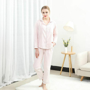 Image 4 - Sleepwear Womens Cotton Home Suit Pajamas Winter Long Sleeve Stripe Pyjama Female Casual Lounge Set Dropshipping