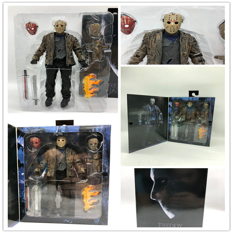 2019 Novo Tipo de Original NECA Freddy vs Jason Voorhees Jason FVJ Final Action Figure Coleção de Brinquedos Horror Presente do Dia Das Bruxas