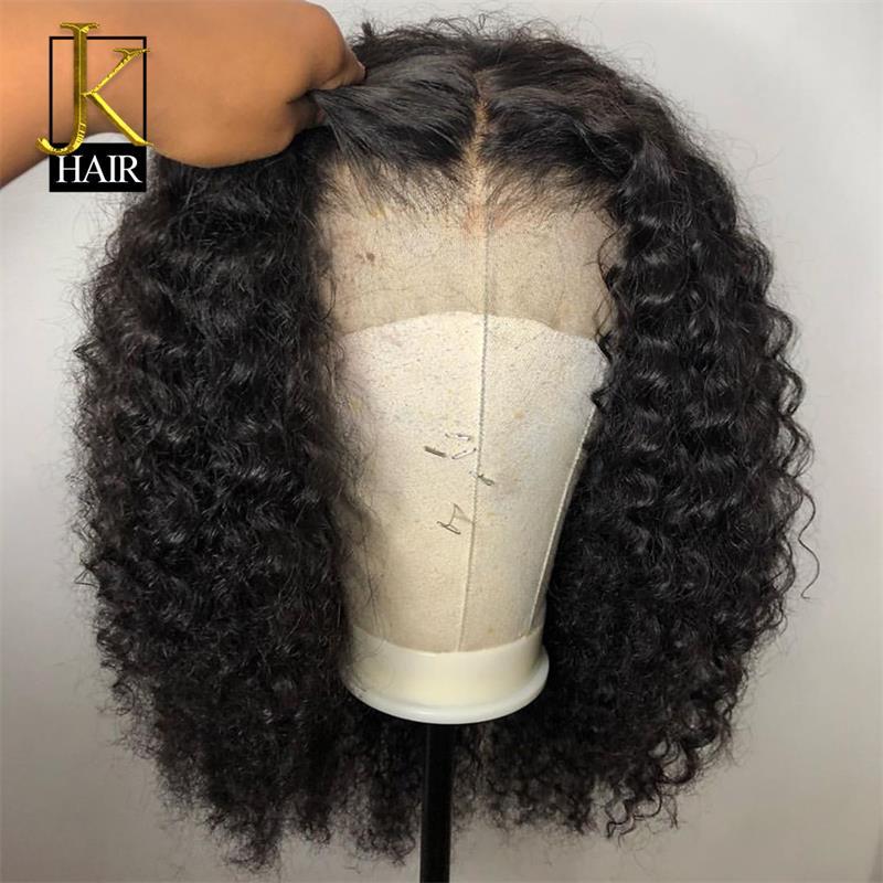 Bouclés Bob dentelle avant perruques de cheveux humains pour les femmes couleur naturelle Remy brésilien 13x4 noir dentelle perruque partie centrale 130-150% JK élégant