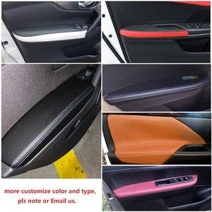 Image 5 - Apoyabrazos para puerta de coche Mitsubishi Outlander, Panel de microfibra suave para Interior de coche, protectores de decoración, 4 Uds., 2014, 2015, 2016, 2017