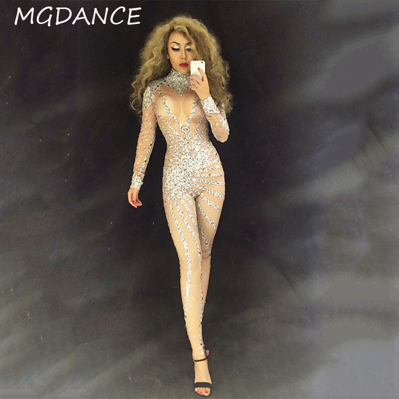 New Women Jumpsuit Performance Party Celebrate Costume Stage Singer Dancer Crystals Jumpsuits Long Sleeve