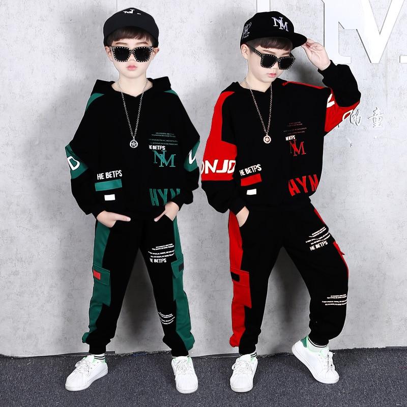 Moda crianças meninos conjunto de roupas primavera outono crianças conjunto de roupas meninos terno esportivo crianças estudante hip hop streetwear