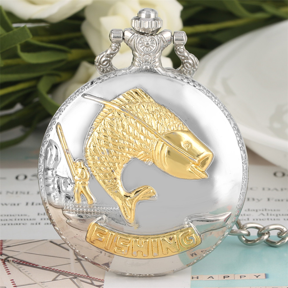 Silver Gold Fish Theme Pocket Watch for Men Cool Fishing Pendant Necklace Dial Watches Gift for Boyfriend Drop Shipping