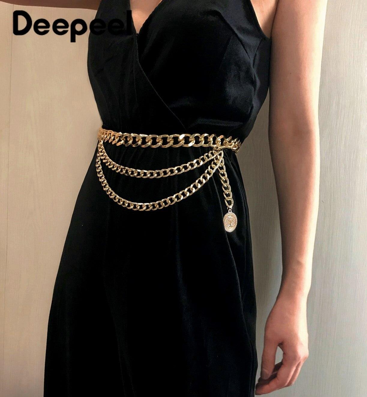 Deepeel 1pc 93cm  Fashion Corset For Women Metal Decorative Cummerbunds Vintage Fringed ChainSexy Wind Cummerbunds YK711