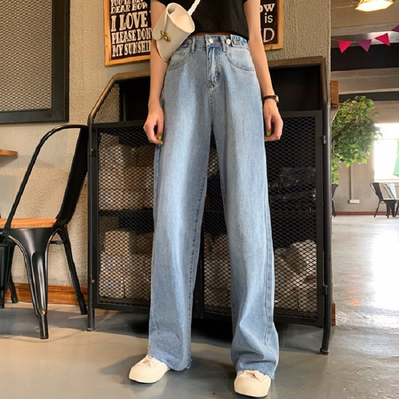 Autumn And Winter Jeans Straight Female  High-Waisted L Korean Version Of The Chic Fat Sister Thin Fall In Loose Wide Leg Pants