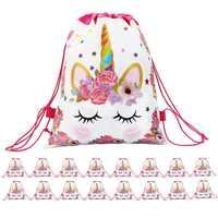 1 Pza de plástico de algodón unicornio Flor de impresión mochila bolsa con cordón chicas licor Juguetes de almacenamiento bolsa para niños Juguetes de peluche almacenamiento