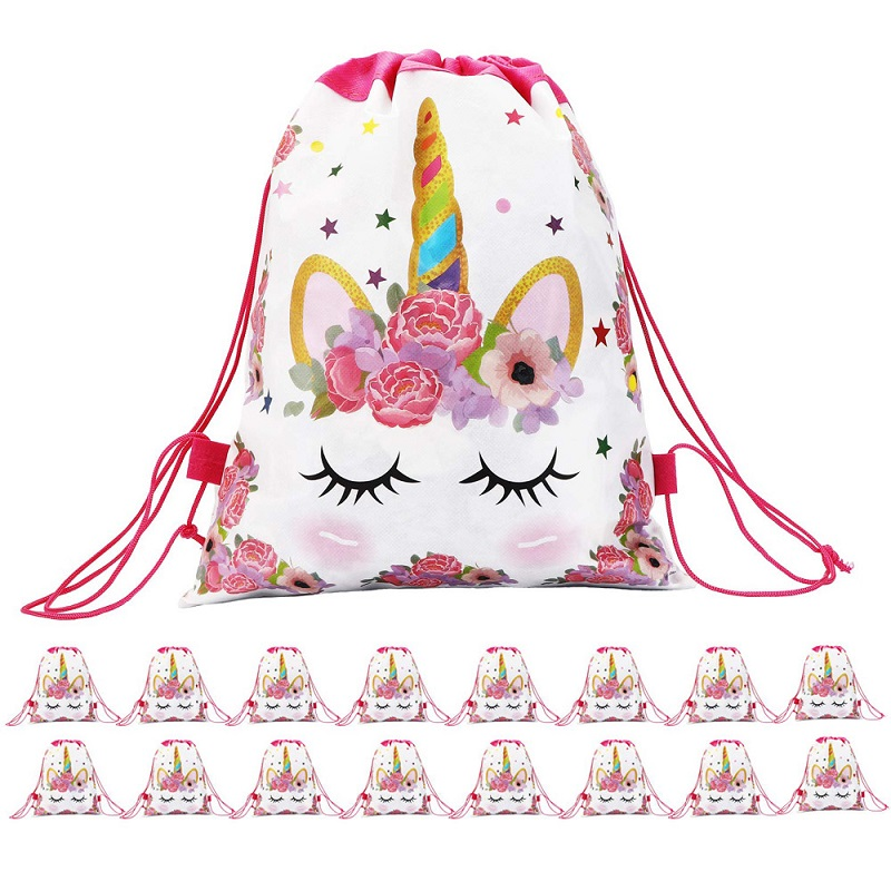 1Pc Plastic Cotton Unicorn Flower Print Backpack Drawstring Bag Girls Licorne Juguetes Storage Bag For Kids Plush Toys Storage