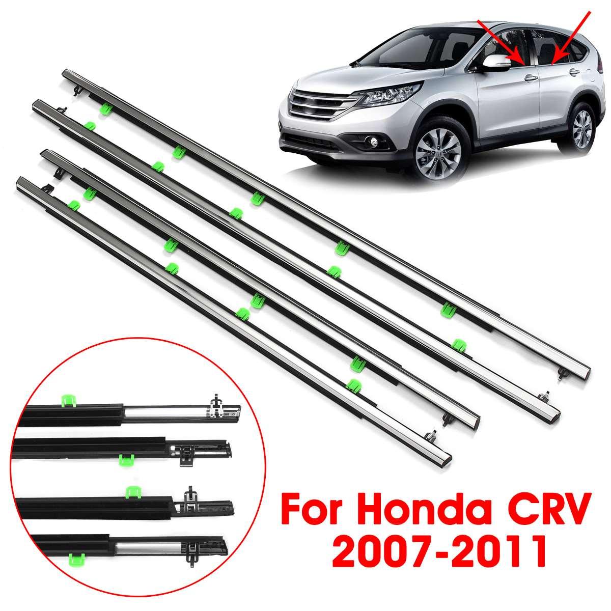 New 4pcs For Honda CRV CR-V 2007-2011 2008 2009 2010 Window Weatherstrip Seal Belt Car Outside Window Weather Stripping Moulding Trim