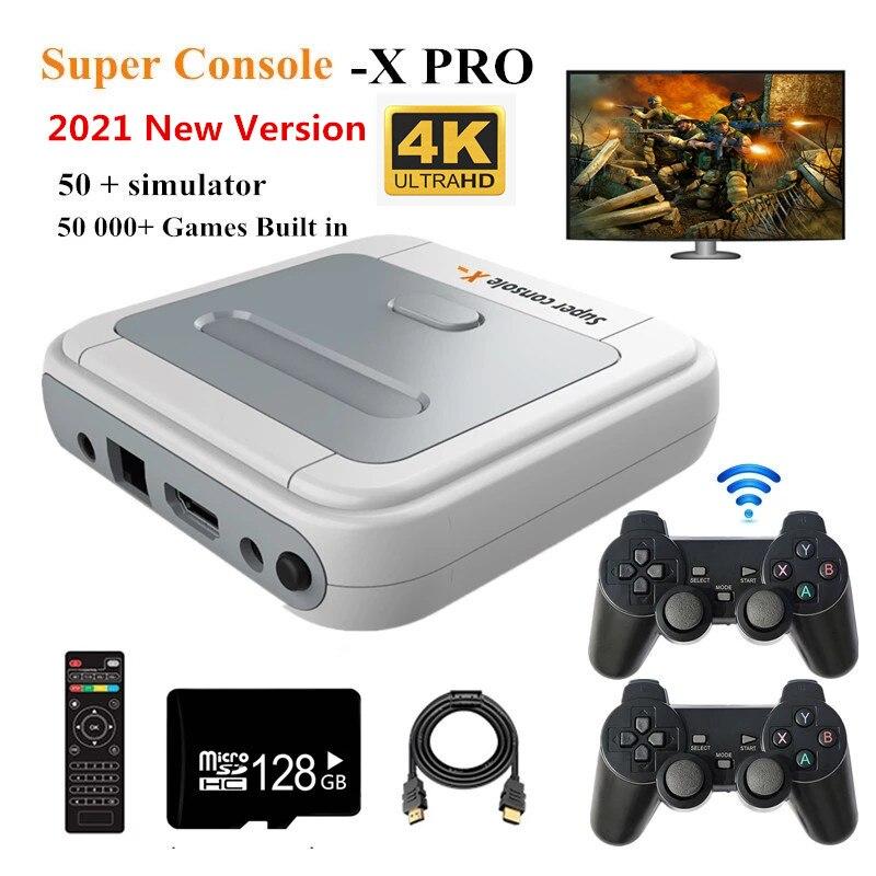 Console de jeux vidéo X PRO HD, sortie 4K HD, rétro intégré, 800/50000 jeux classiques de famille, deux joysticks TV, pour cadeau, PK xbox ps1