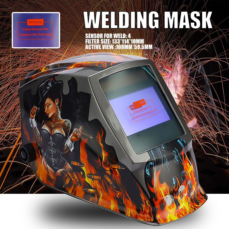 Rechangeable Battery 4 Arc Sensor Big View Solar Auto Darkening Shading Grinding Polish Welding Helmet Welder Goggles Mask