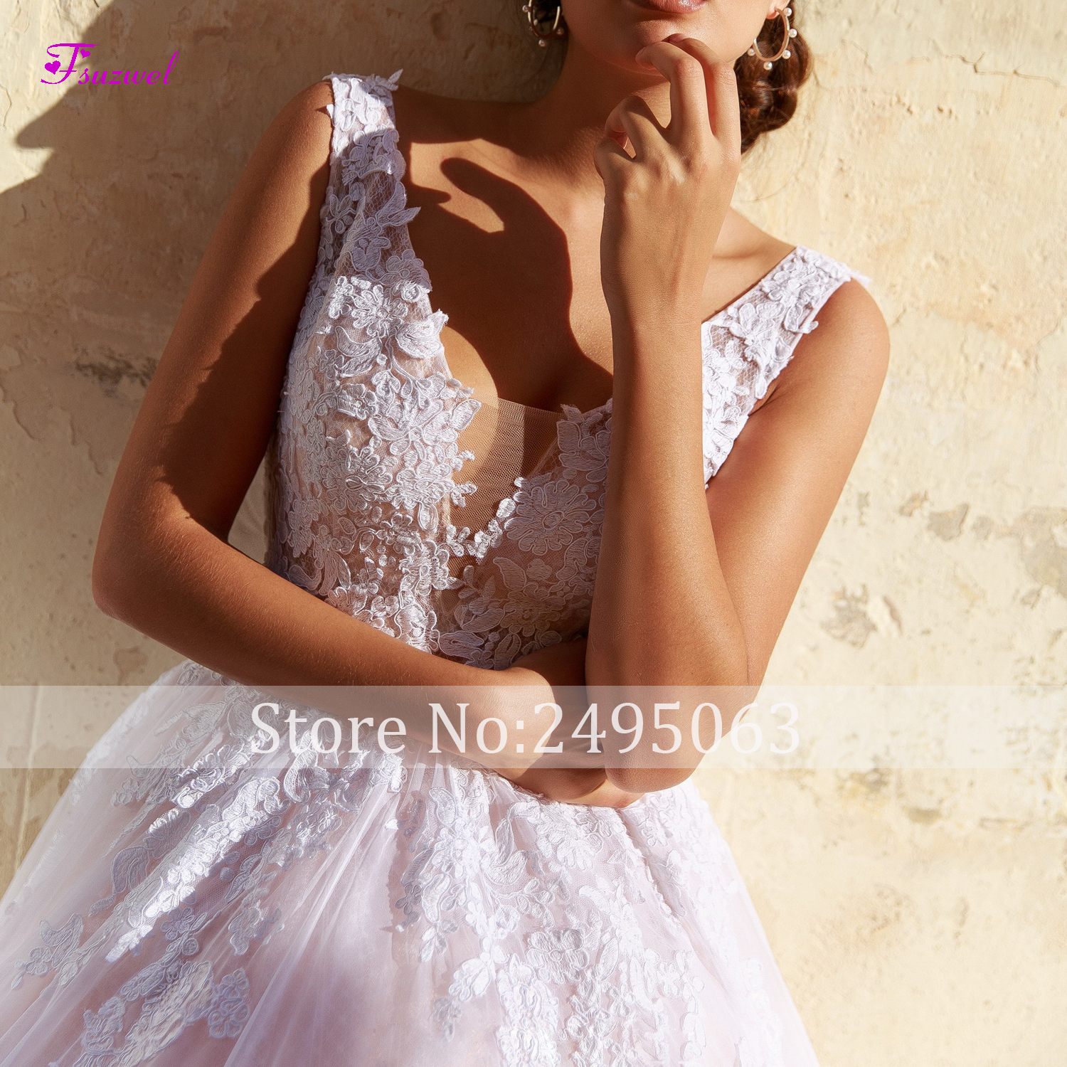 Image 3 - Fsuzwel New Arrival Sexy V Neck Backless A Line Wedding Dresses 2019 Gorgeous Appliques Sweep Train Bridal Gown Vestido de Noiva-in Wedding Dresses from Weddings & Events