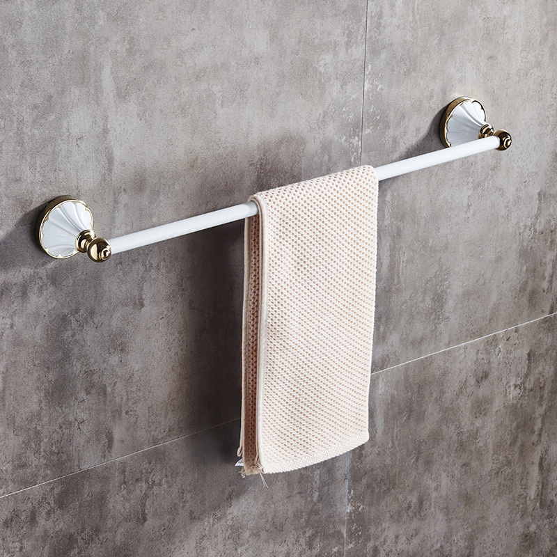 Manufacturers Direct Selling European Style Vintage Bathroom Towel Bar Single Pole White Plated Towel Rack Bathroom Pendant