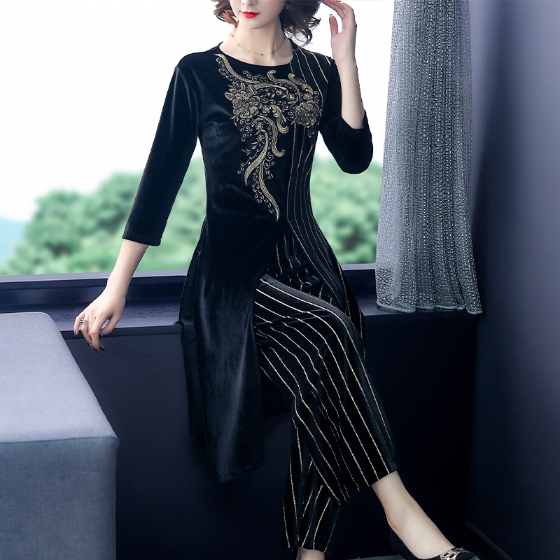 Velvet Vintage Striped Two Piece Sets Outfits Women Plus Size Floral Patchwork Long Tops And Wide Leg Pants Suits Elegant Sets 24