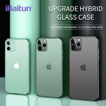 iHaitun Luxury Glass Case For iPhone 11 12 Pro Max Cases Ultra Thin Transparent Glass Cover For iPhone 12 Mini Soft Edge