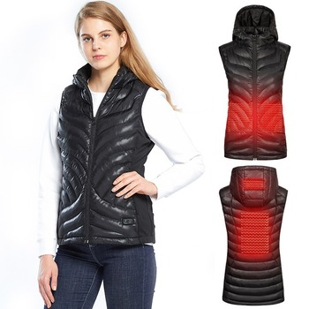 2019 Women Outdoor Heated Vest USB Infrared Heating Jacket Winter Carbon Fiber Electric Thermal Clothing Waistcoat SA-8