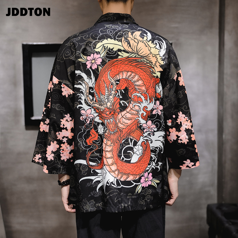 JDDTON Men's Dragon Pattern Auspicious Clouds Kimono Jackets Japanese Cardigan Retro Coats Traditional Clothing Streatwear JE084