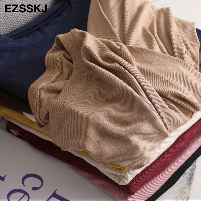 autumn winter bottom cotton long sleeve o-neck T Shirt Women long Sleeve casual basic T shirt solid Color Tee top Female top 5
