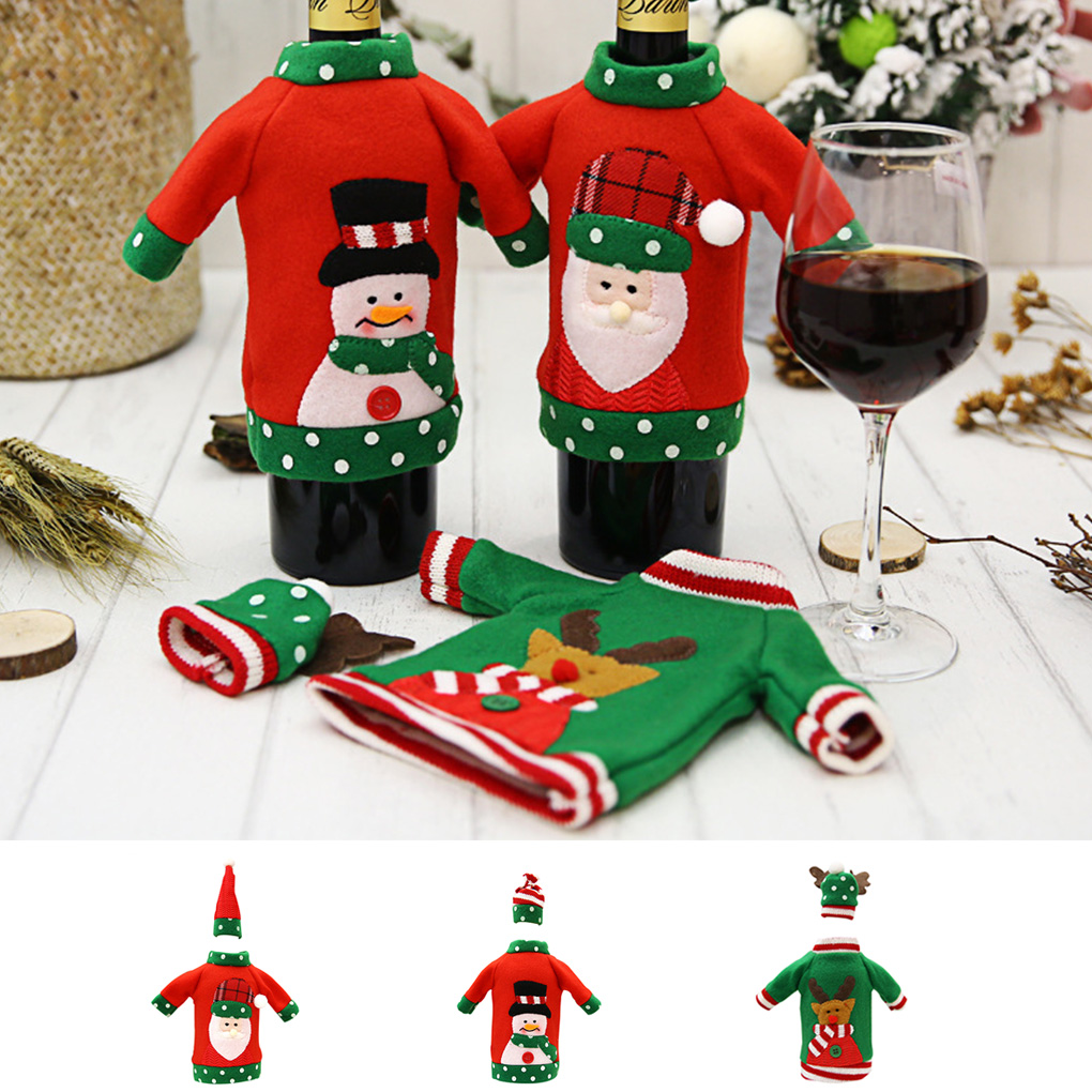 Christmas Sweater Wine Bottle Cover Embroidery Champagne Bottle Sweater Hat Set Party Decorations