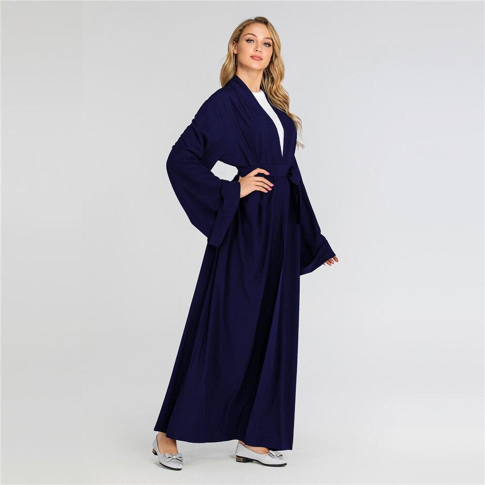 Solid Kimono Open Abaya Dubai Kaftan Muslim Hijab Dress Abayas Robe Africaine Femme Caftan Turkish Islam Clothing Oman For Women