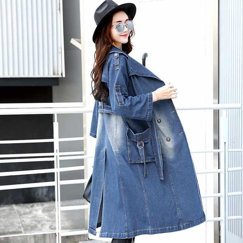 Ingiliz tarzı bayan trençkot 2020 yeni moda Slim Fit kemer ceket kadın rahat kruvaze cep uzun Denim rüzgarlık