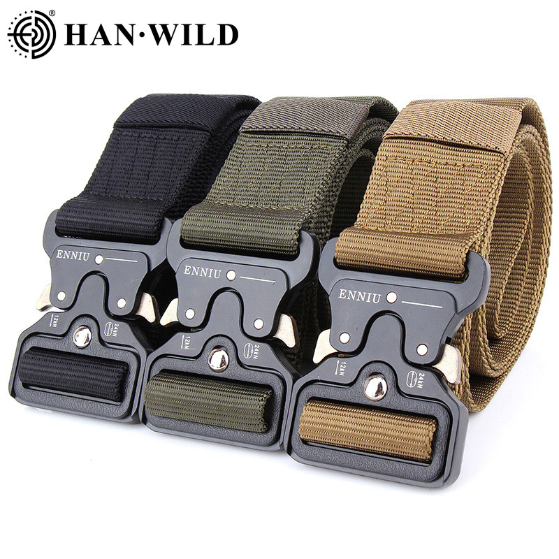Military Tactical Belt Metal  Nylon Buckle Adjustable Army Police Outdoor Quick Release Hunting Training Belt Width 3.8CM 4.3CM