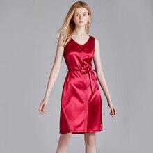 цена на 2020 SS womens Silky soft pajama Knee length night dress Solid color Button up lace up sleepwear sleeveless dress nightgowns